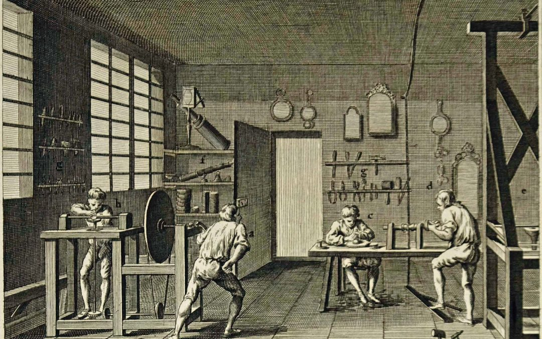 Historical grinding machine for spectacle lenses